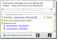 CRM Pane in Outlook